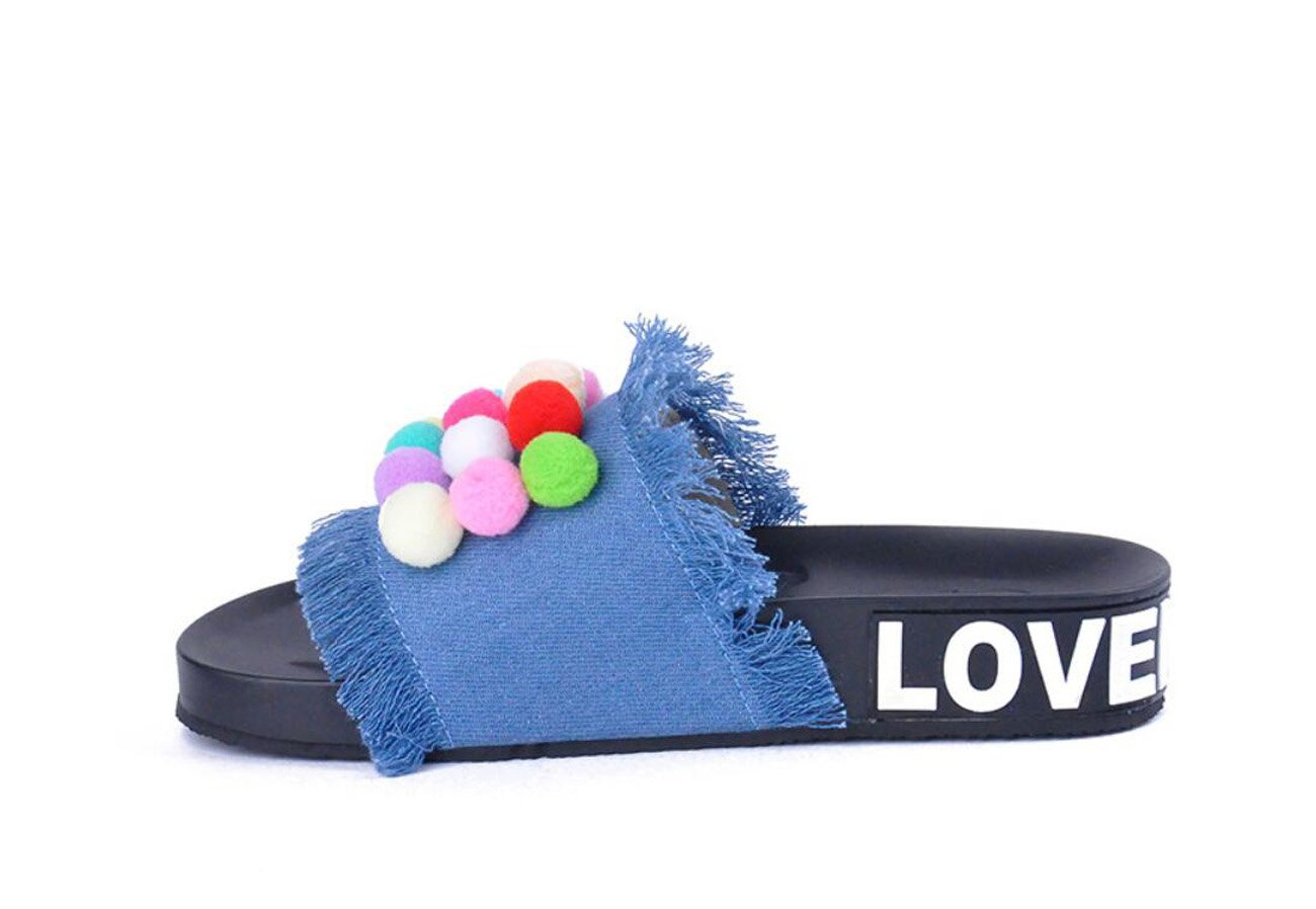 DANDANJIE Femmes Flip Flop Denim Slipper Couleur Bonbon floqué Ball Slipper été Confortable Sliders Open Toe Glisser sur
