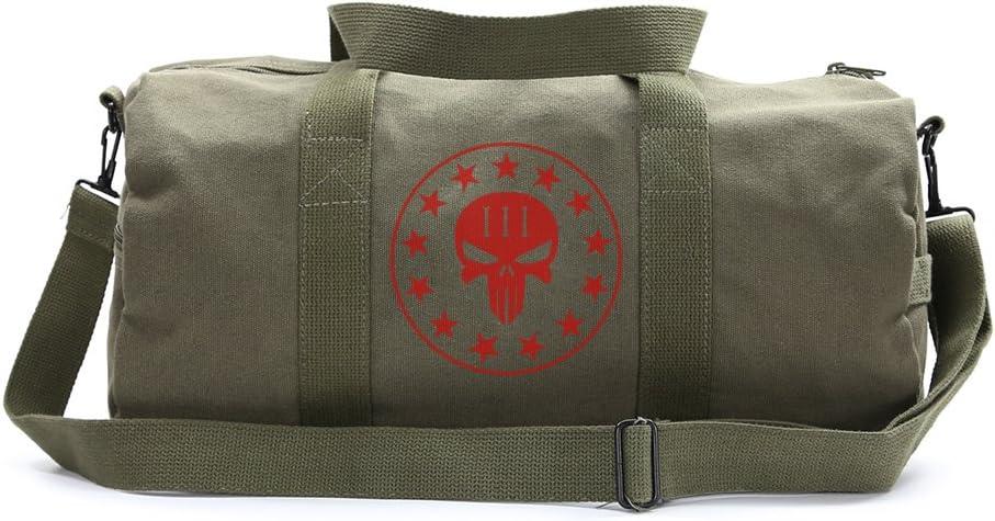 Large Olive /& Yellow Duffel Bag Three Percenter No Surrender Punisher Skull