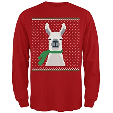 7a6458d23587 Amazon.com  Ugly Christmas Sweater Big Llama Red Adult Long Sleeve T ...