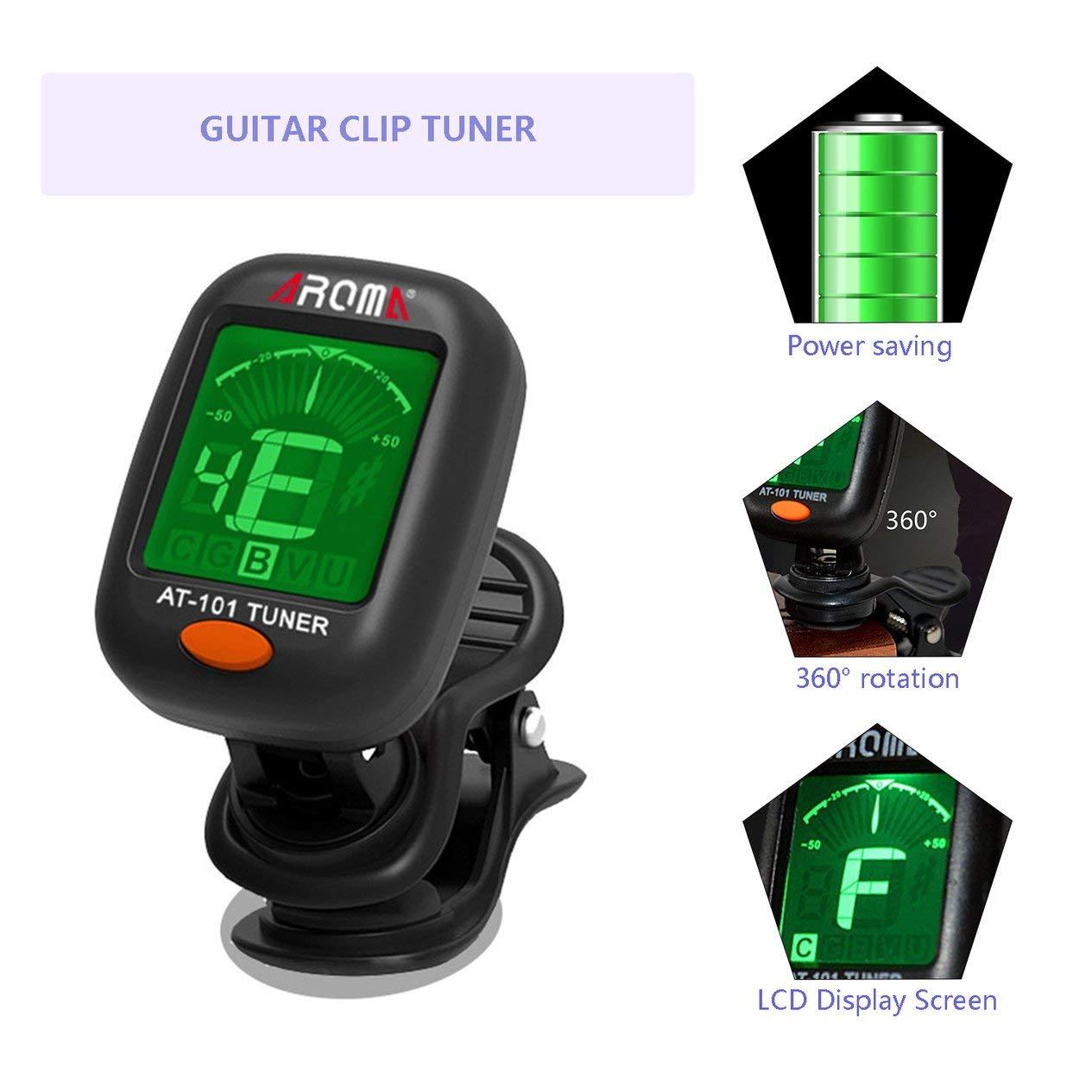 EdBerk74 AT-101 Aroma Tama/ño peque/ño Tipo de Clip Afinador de Instrumentos de Guitarra Bajo Guitarra Ukulele Sintonizador de Clip Digital el/éctrico