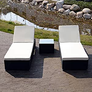 uhom al aire libre ratán mimbre ajustable Chaise Lounge Silla Muebles de jardín con mesa de café juego de 3