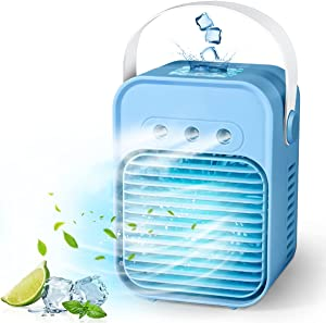 Portable Air Conditioner Fan, Rechargeable Personal Evaporative Cordless Air Cooler Battery Powered Desk Fan with Handle, Desk Misting Fan with 3 Speeds for Small Room Office Dorm and Outdoor