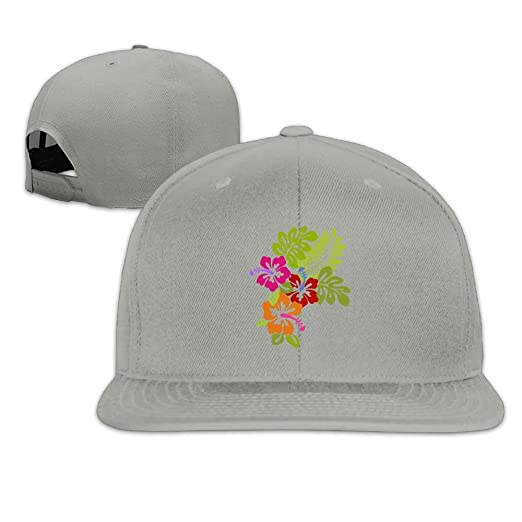3d78bda9731 Tropical Hibiscus Flowers Plain Adjustable Snapback Hats Men s Women s  Baseball Caps at Amazon Men s Clothing store