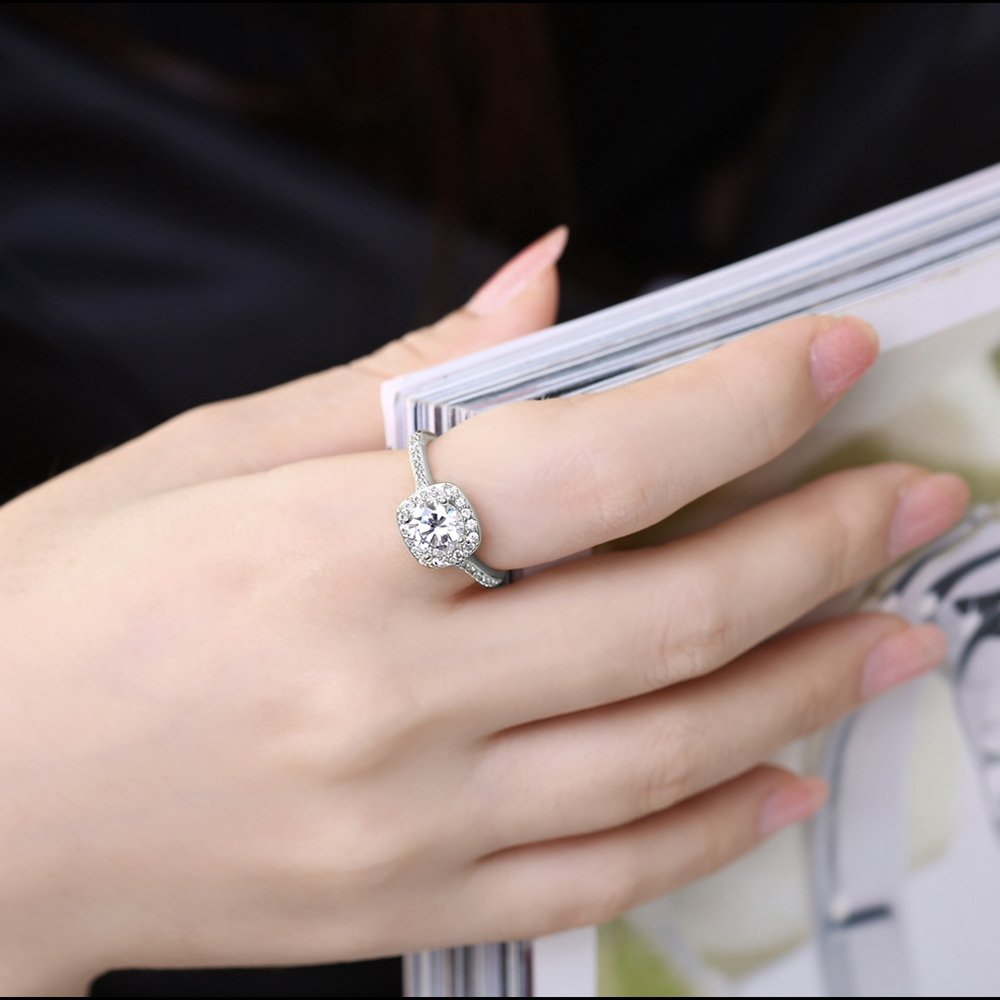 Amazon.com: EnjoIt Silver Plated CZ Crystal Square Rings Wedding ...