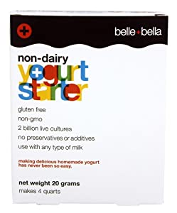 Vegan with Live and Active Probiotics Makes 4 Quarts, Non-Dairy, Non-GMO, Gluten Free Yogurt Starter by Belle + Bella