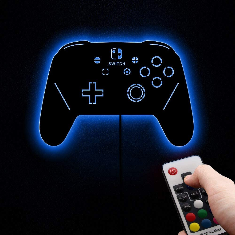 The Geeky Days Remote Control Gamepad Controller Luminous Wall Mirror Video Game LED Lighting Decor Boy Room Gaming Zone Wall Sign for Cool Light Gamer Gifts