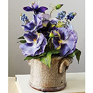 Smithsonian Silk Pansy Bouquet in Antiqued, Glazed Pot 81