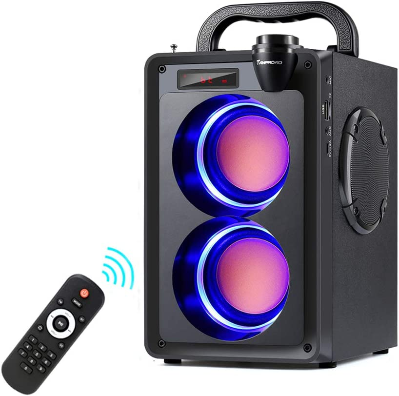 Bluetooth Speakers, 20W Portable Bluetooth Speaker with Subwoofer, FM Radio, LED Lights, EQ, Booming Bass, Bluetooth 5.0 Wireless Stereo Loud Outdoor/Indoor Party Speakers for Home, Camping, Travel