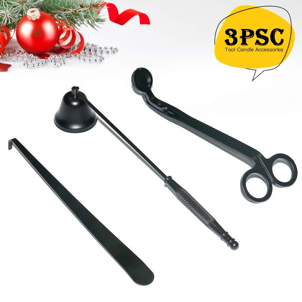 Incluye decantador de mechas y Cortador de mechas y apagador de Velas Juego de 3 apagavelas de Metal Color Negro Linhbo