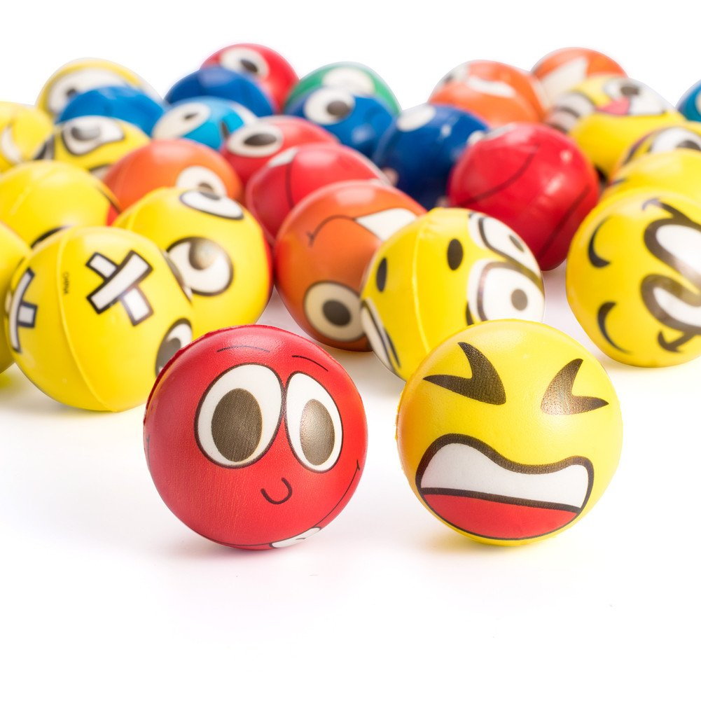 Holiday Therapy Gift with 4 Sheets Emoji Stickers Emoji 48Pcs Emoji Stress Balls Shallylu Stress Reliver Party Favors Emoji Face Squeeze Foam Ball Toys for Birthday