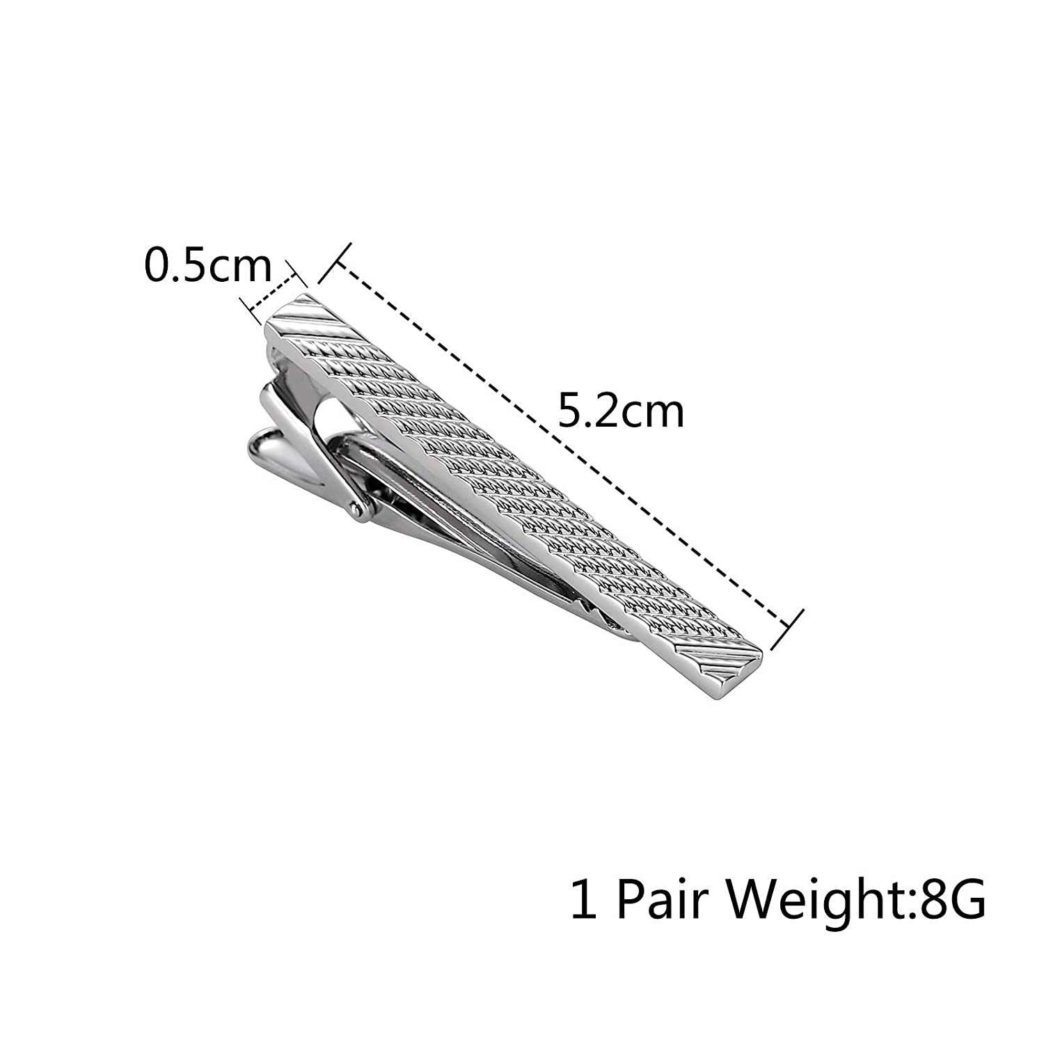 Suitable for Wedding Anniversary Business and Daily Life Aokarry Tie Clips for Men 316L Stainless Steel Tie Bar Clips Silver Textured