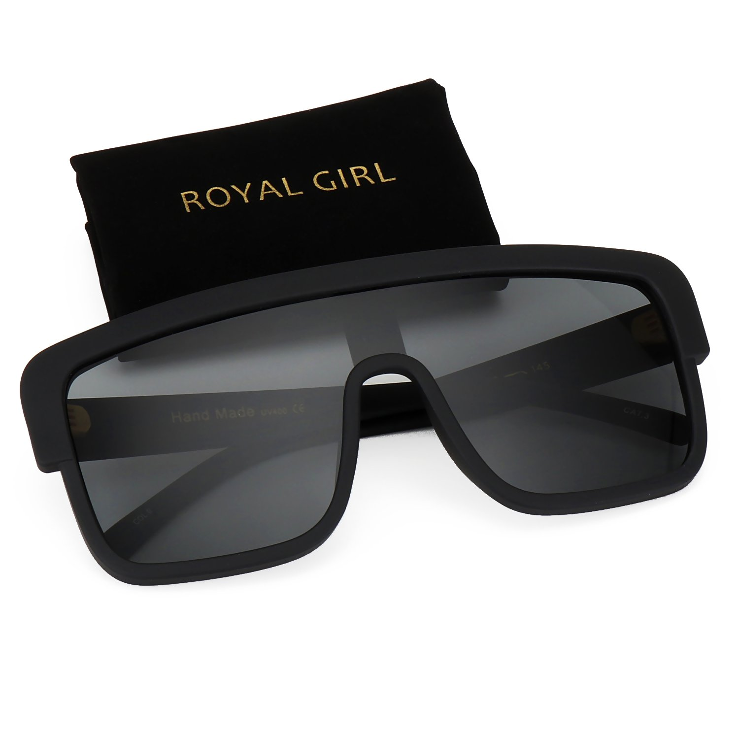 ROYAL GIRL Premium Oversized Sunglasses Women Flat Top Square Frame Shield Fashion Glasses (Matte Black, 77) by ROYAL GIRL (Image #1)