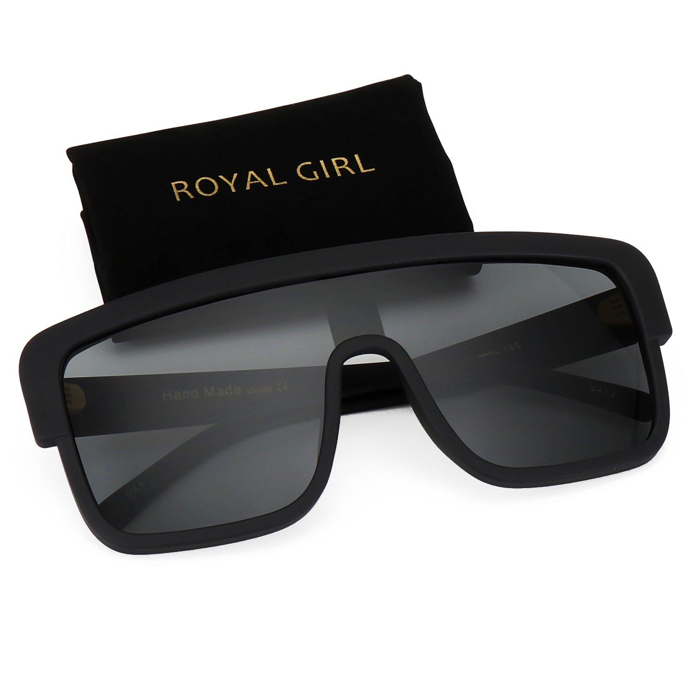 7dabd3fd4 Details about ROYAL GIRL Premium Oversized Sunglasses Women Flat Top Square  Frame Shield