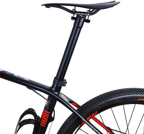 Luz de fibra de carbono MTB bicicleta tija tija de sillín de 27,2 ...