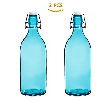 Botellas de agua de cristal reutilizables con tapa a prueba de fugas, 1 l/