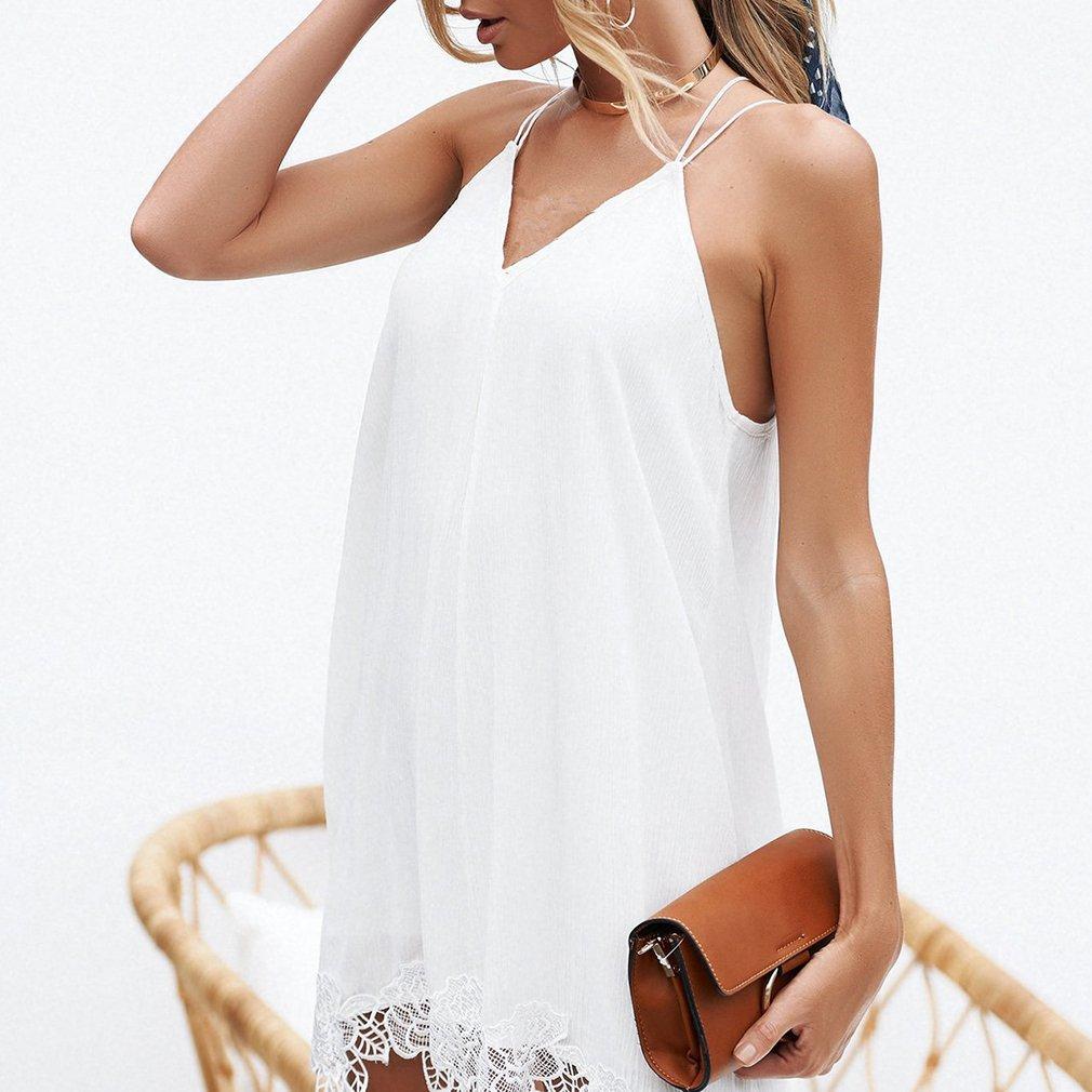 Yinew Sommer Kleid Band Spitze Chiffon Kleid Damen Mädchen Frauen Weiß S