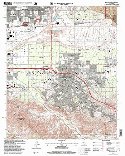 Redlands CA topo map, 1:24000 scale, 7.5 X 7.5 Minute, Historical, 1996, updated 1999, 26.8 x 21.5 IN - - Valley Ca Crown