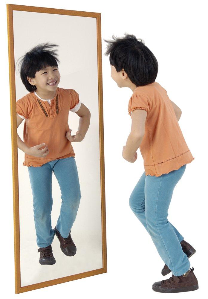 HenBea Kinder Spiegel mit Holz Rahmen, Kunststoff, Beige, 120 x 50 cm