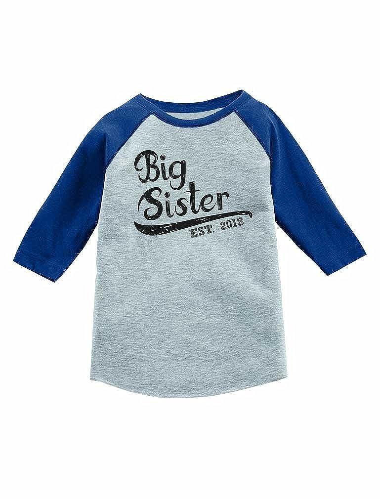 Sibling Gift Girl 3//4 Sleeve Baseball Jersey Toddler Shirt Big Sister Est 2018