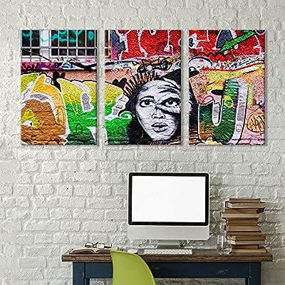3 Panel Canvas Wall Art - Triptych Street Graffiti Series - Lady Liberty Illuminati - Giclee Print Gallery Wrap Modern Home Art Ready to Hang - 16