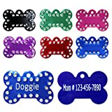 "Bone Print Pet ID Tags for Small & Medium Dogs / Bling Rhinestones Studded / Laser Engraving / Black / Pink / Red / Green / Blue / Purple / 1.0"" x 1.5"" - Vcalabashor™"