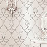 Blooming Wall: Non-woven Elegant European Flocking Embossed Damask Textured Lace Pattern Wall Mural Wallpaper for Living Room Bedroom, 20.8 In32.8 Ft=57 Sq.ft,off White