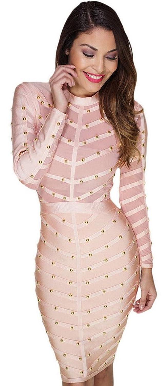 Orien Long Sleeve Pencil Knee Long Bandage Body Con Dress For Women Pink