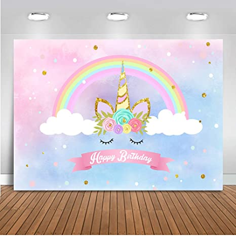 233f12b45a6f Mehofoto Unicorn Themed Backdrop Rainbow Unicorn Cloud Photography  Background 7x5ft Vinyl Unicorn Themed Happy Birthday Party Banner Backdrops