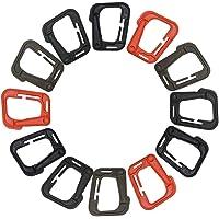 FineGood Táctico Ganchos Colgantes de plástico D-Ring Locking, 12 Piezas Mosquetones Multiusos Ligeros para Las Correas de Molle - Marrón, Negro, Naranja, Caqui