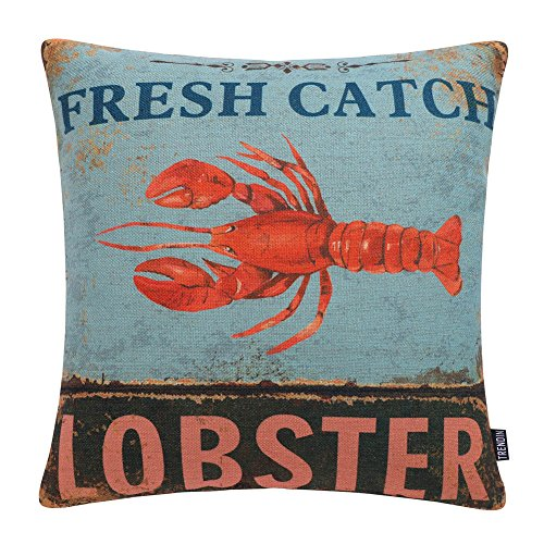 (TRENDIN Vintage Fresh Catch Lobster Style Cotton Linen Square Decor Throw Pillow Covers, 18 x 18 Inches PL209TR)
