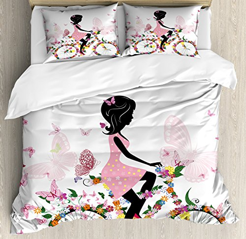 Ambesonne Bicycle Duvet Cover Set, Girl in a Pink Dress Riding a Bike with Colorful Flowers and Romantic Butterflies, Decorative 3 Piece Bedding Set with 2 Pillow Shams, Queen Size, Multicolor
