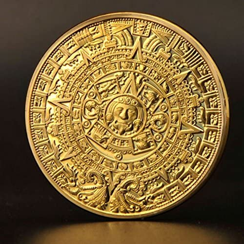 5pcs Gold Coin Mayan calendar Aztec Mexico 1oz Gold Plated Souvenir Coin