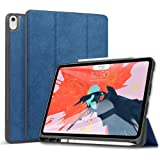 Wonzir 新しい iPad Pro 12.9 ケース (2018モデル) Apple Pencil 収納可能 Apple Pencil 2代にワイヤレス充電対応 スタンド機能 iPad Pro 12.9 インチ (2018新型) 保護カバー 軽量 薄型 シンプル 三つ折タイプ 全面保護型 傷つけ防止 iPad pro 12.9手帳型 ケース PU 便利なペンホルダー付き (ipad pro 12.9 (2018 新モデル), ブルー)