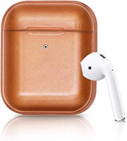 Front LED Not Visible Blue AirPods Leather Case Wireless Charging Cover for AirPods 2 /& 1 Genuine Leather Case