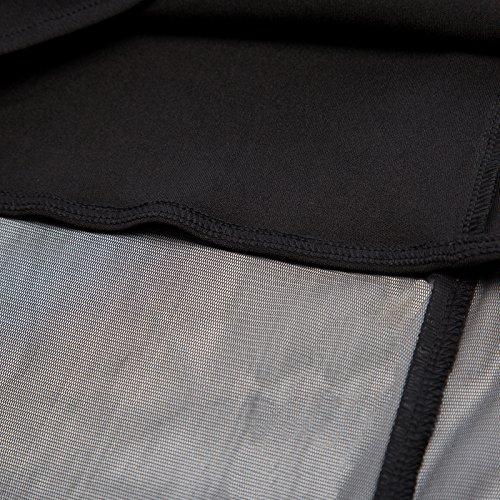 Rétro Manches Courtes En Tulle Cru Voir À Travers Un Filet Superposition Robe Haut-bas Bp000555 Noir
