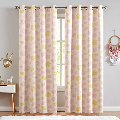 Kids Room Curtains Cloud Printed Nursery Room Darkening Curtains for Living Room Window Curtain Panels for Bedroom Drapes Ring Top Window Treatments 2 Panels 84 L Pink on Beige