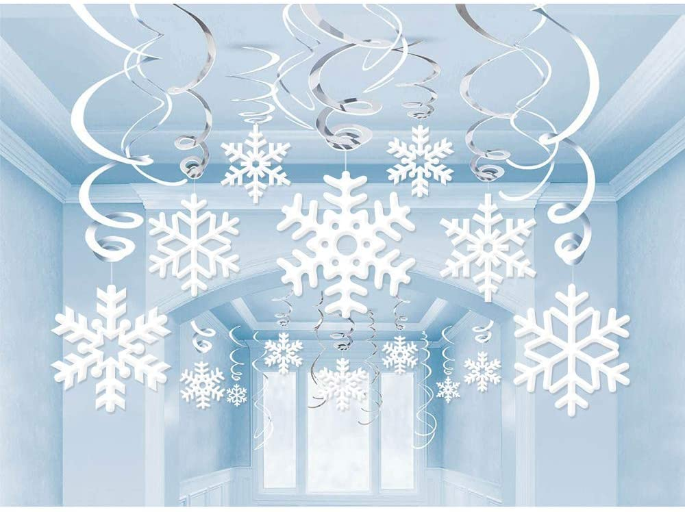 42Ct Christmas Snowflake Hanging Swirl Decorations - Winter Wonderland/Xmas/Holiday for New Year Party Supplies