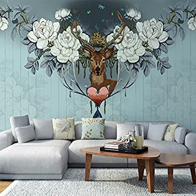XLi-You 3D European living room TV wall murals elk personality creative wallpaper walls