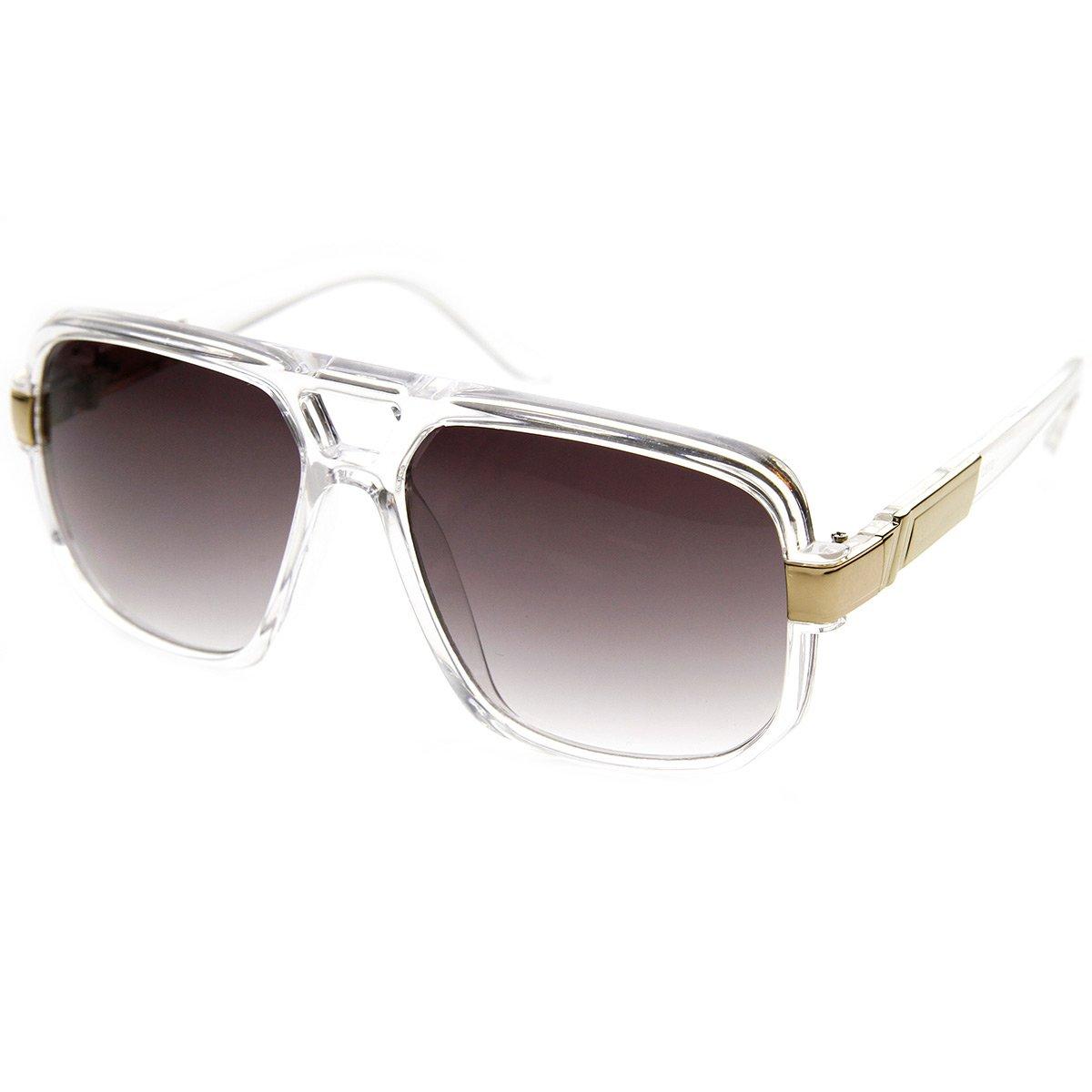 zeroUV - Classic Square Frame Plastic Flat Top Aviator Sunglasses (Clear)
