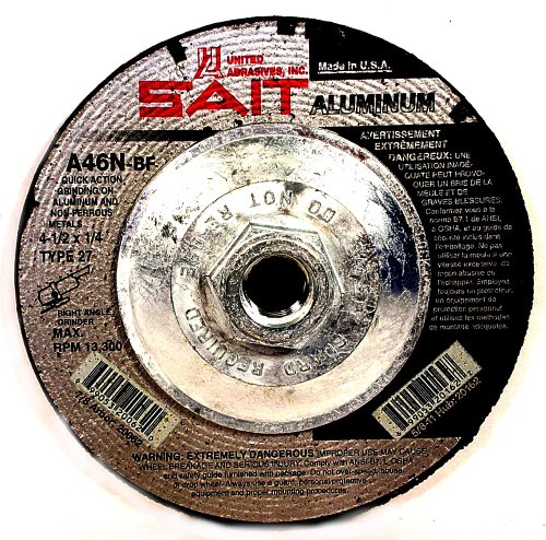 United Abrasives-SAIT 20162 Type 27 4-1/2-Inch x 1/4-Inch x 5/8-11 A46N Aluminum Depressed Center Grinding Wheels, 10-Pack 11 Type 27 Wheel