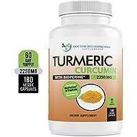 Turmeric Curcumin - 2250mg/d - 180 Veggie Caps - 95% Curcuminoids with Black Pepper Extract (Piperine) - 750mg Capsules - 100% Organic - Most Powerful Turmeric Supplement - with Triphala