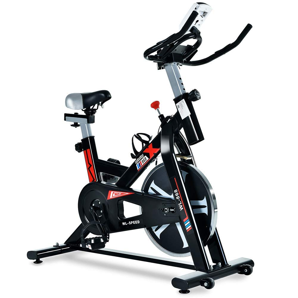 ML-SPEED Indoor Cycling Bike, Silent Belt Driven Exercise Bike with LCD Monitor for Home Cardio and Workout, Adjustable Non-Slip Handlebar and Padded Seat, Maximum Load 330lbs