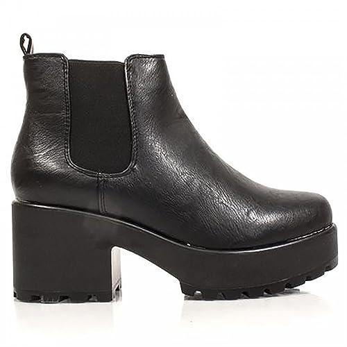 Negra Imitación Cuero De La Pu Señoras Mujer Chelsea Bloque Elástico Grueso Plataformas Botines Altos Zapatos De Tacón Zapatos 3-8: Amazon.es: Zapatos y ...