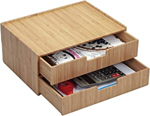 Large Bamboo Drawer 2 PK, Monitor Stand & Stackable Storage Solution for office products pens, pencils, scissors, notepads, business cards and more