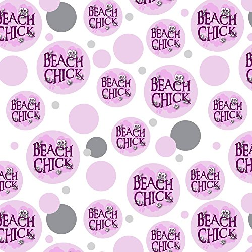 (Premium Gift Wrap Wrapping Paper Roll Pattern - Beach Tropical - Beach Chick Hibiscus Flowers)