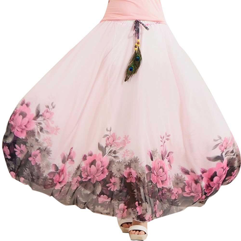 Ashir Aley Woman's Summer Beauty Chiffon Long Floral Maxi Skirt (M Petite,Pink)