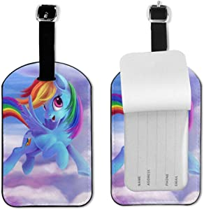 Rainbow Dash My Little Pony Friendship Is Magic Leather Luggage Tags Suitcase Tag With Full Privacy Name ID Card Valise Bendable Tag