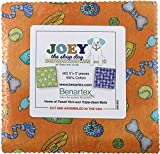 quilting fabric with 5 stars - Benartex Joey the Shop Dog Precut 5-inch Charm Pack Cotton Fabric Quilting Squares Assortment