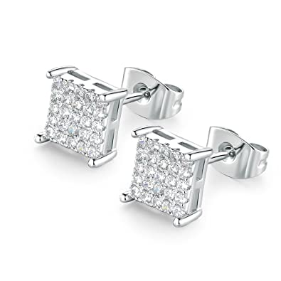 10045c910 VOLUKA 6.5mm Square Shape Crystal Cubic Zirconia Stud Earrings for Girls  and Women (25pcs