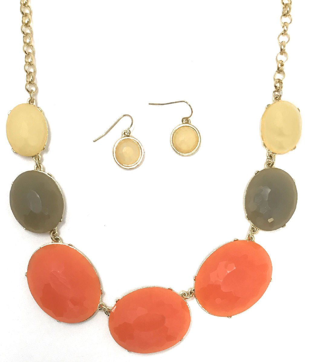 Dave's Collections Women's Fashion Bubble Bib Collar Statement Jewelry Earring Necklace Set